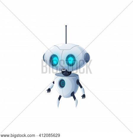 Cartoon Robot With Antenna On Head Isolated Plastic Hi-tech Character. Vector Modern Stylish Robotic