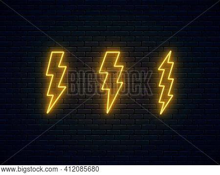 Neon Lightning Bolt Set. High-voltage Thunderbolt Neon Symbol. Thunder And Electricity Sign. Electri