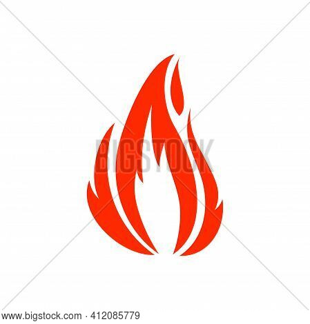Flame Of Campfire Or Bonfire, Vector Fireproof Sign Isolated Burning Fiery Explosion. Vector Orange