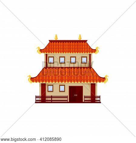 Retro Chinese Building Isolated Old Chinatown Street House. Vector Oriental Landmark, Asian Cartoon