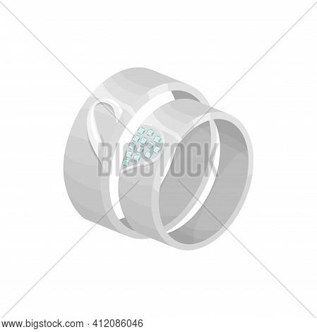Engagement Rings With Diamonds For Wife And Husband Isolated. Vector Wedding Rings Of White Gold Or