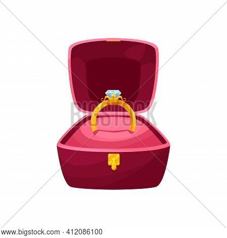 Velvet Box With Golden Ring Wedding Symbol Isolated Cartoon Icon. Vector Pillow In Red Case Of Squar