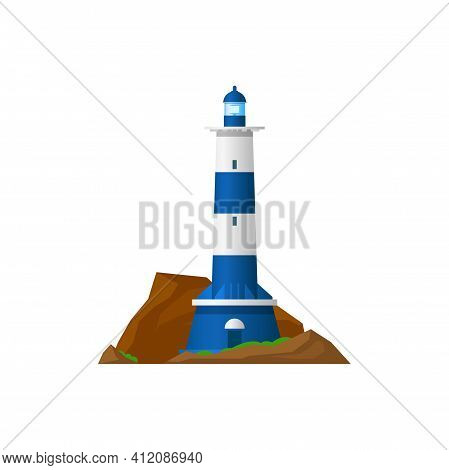 Sea Lighthouse Icon Isolated Marine Beacon. Vector Tower On Ocean Coast Or Marine Shore With Searchl