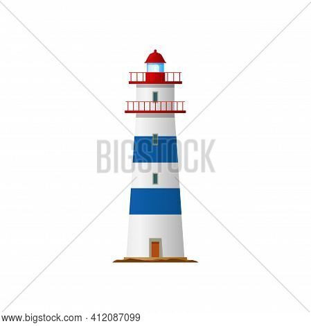 Tower With Beacon Light On Top Isolated Retro Building. Vector Lighthouse, Marine Navigation Symbol,