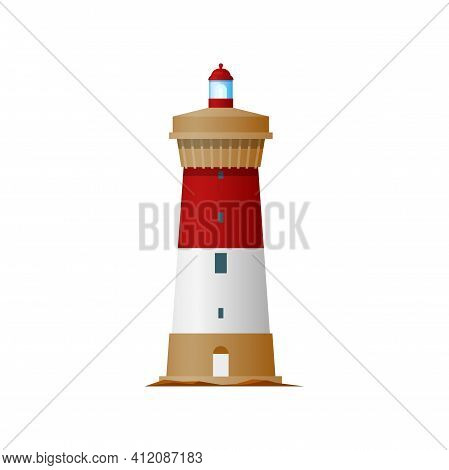 Marine Lighthouse Isolated Tower Building. Vector Navigational Nautical Construction With Signal On