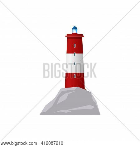 Nautical Red Striped Tower Isolated Construction Icon. Vector Tall Lighthouse, Retro Beacon, Sea Nau
