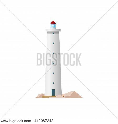 Sea Lighthouse, Marine Beacon Isolated Building. Vector Nautical Striped Tower, Tall Construction On