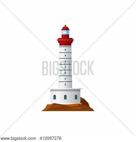 Retro Lighthouse Nautical Building Isolated Icon. Vector Seafarer Construction, Maritime Guidance To