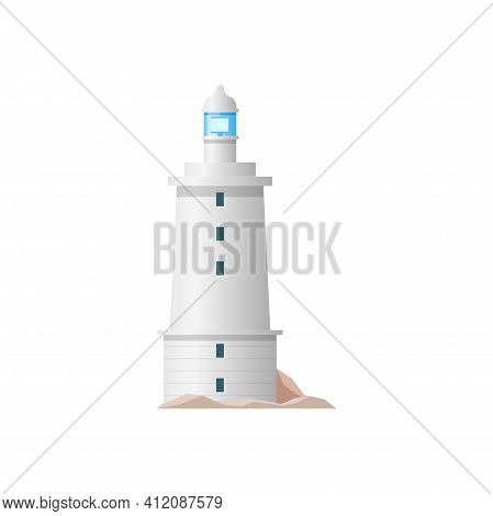 Lighthouse Beacon Tower Or Nautical Cost Searchlight, Vector White Light House Isolated Icon. Port G