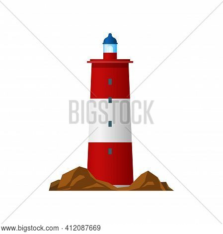 Lighthouse Or Beacon Searchlight Tower, Nautical Coast And Sea Light, Vector Isolated. Light House I
