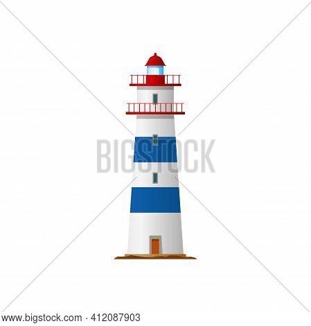 Lighthouse, Nautical Sea Tower Or Light House Beacon, Vector Coast Navigation And Sailing Warning Si