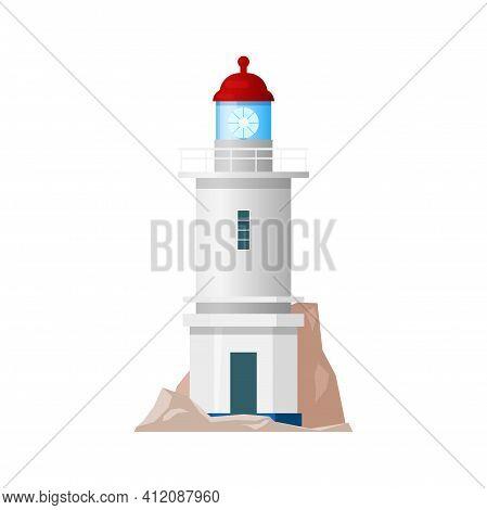 Lighthouse, Nautical Sea Light House Beacon Tower Or Coast Searchlight, Vector Isolated Flat Icon. M