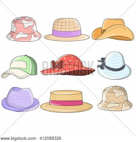 Hats And Headwears. Stylish Summer Male And Female Headwear, Vintage Classic And Modern Hats