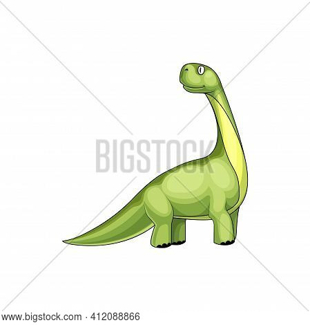 Brontosaurus Excelsus Big Dino Kids Toy Isolated Prehistoric Animal. Vector Brontosaurus Yahnahpin O
