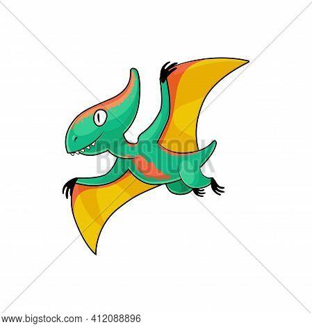 Pterodactyl Isolated Flying Pteranodon Dinosaur In Cartoon Style. Vector Prehistoric Pterosaur Dino