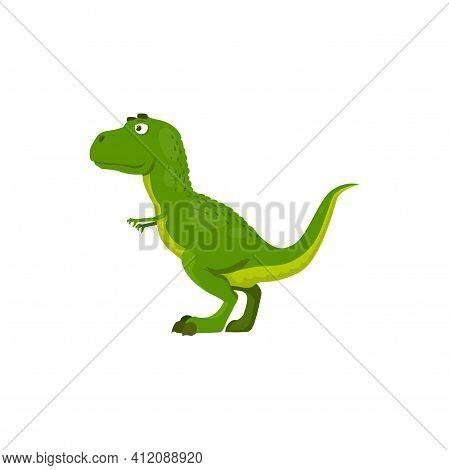 T-rex Theropod Dino Extinct Animal, Coelurosaurian Dinosaur Isolated Green Cartoon Animal. Vector Pa