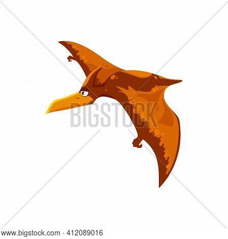 Pterodactylus Cartoon Dinosaur Kids Toy Isolated Flying Prehistoric Bird Icon. Vector Pteranodon Pte