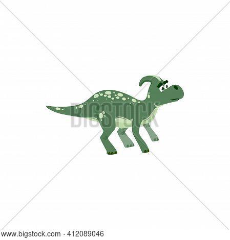 Parasaurolophus Dino Isolated Green Cartoon Animal, Kids Toy. Vector Dinosaur Skull With Crest, Exti