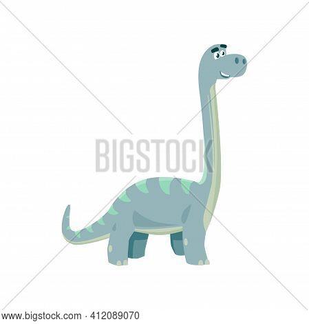 Brontosaurus Isolated Cartoon Tyrannosaurus Kids Toy, Robot Model. Vector Blue Childish Dino, Dinosa