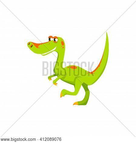 Tyrannosaurus T-rex Isolated Green Cartoon Dinosaur. Vector Dino T-rex, Theropod Extinct Animal, Coe