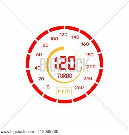 Speedometer Or Gauge Meter Indicator And Car Speed Level Graph, Vector Icon. Speedometer, Car Veloci