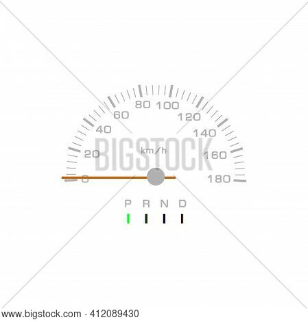 Speedometer, Car Dashboard And Speed Gauge, Vector Counter Or Gear Panel With Arrow Dial. Speedomete