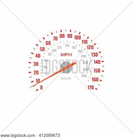 Speedometer, Car Gauge Scale Speed With Mph Dial, Vector Dashboard Odometer. Car Speed Gage Board Wi