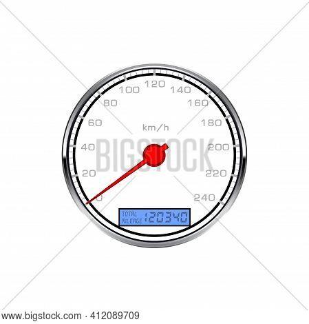 Speedometer Gauge, Car Speed Scale Dial Odometer, Vector Dashboard Gage Counter. Speedometer With Ki