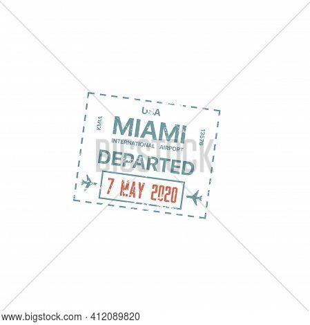 Passport Stamp, Travel Customs Visa Of Usa Miami, America International Airport Border Control Passp