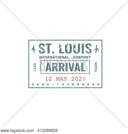 Passport Stamp Travel Visa Or Customs Of Usa International Airport Border Control, Vector Isolated.