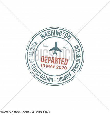Passport Stamp Travel Visa Or Customs Of Usa International Airport Immigration Border Control, Vecto