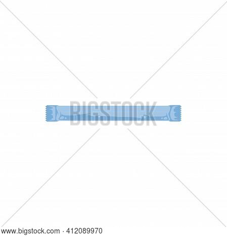 Sugar Stick Sachet Isolated Realistic Icon. Vector Mockup Of Sugar Pack Or Package In Blue Paper, Sa