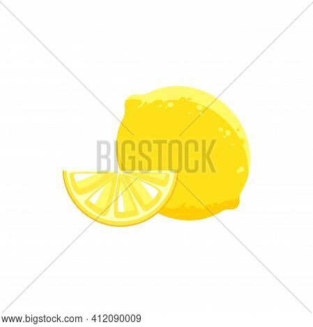 Whole Lemon And Cut Piece Of Yellow Citrus Isolated Realistic Icon. Vector Juicy Lemon, Tropical Cit