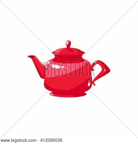 Tea Pot With Herbal Green Or Black Tea Isolated Red Kettle With Cap. Vector Kitchen Cutlery, Chinese