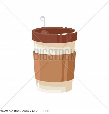 Disposable Coffee Cup With Lid Isolated Streaming Package Template. Vector Takeaway Drink, Realistic
