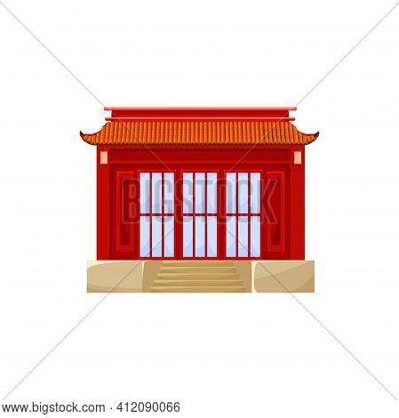 Red Building Ancient Asian Architecture Structure Isolated Icon. Vector Traditional China Town House