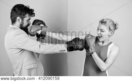 Boxing Couple. Strength And Power. Family Couple Boxing Gloves. Bearded Man Hipster Fighting With Wo