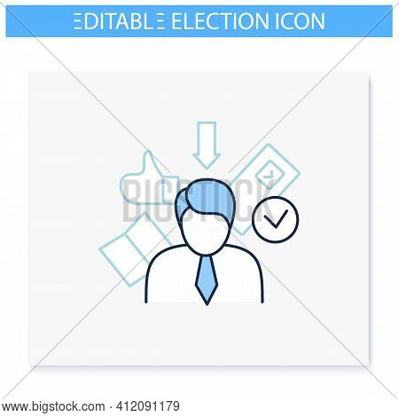 Election Candidate Line Icon. Politician. Elected Applicant. Choice, Vote Concept. Democracy. Parlia
