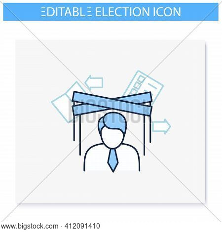 Political Puppet Line Icon. Controlled President, Candidate, Politician. Hidden Power. Manipulation