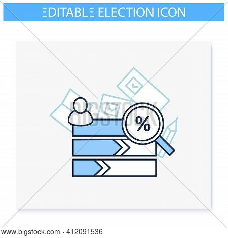 Vote Counting Line Icon. Candidates Rating Horizontal Histogram. Voting Percentage.choice, Vote Conc