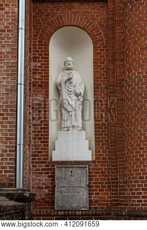 Statue Of The Saint Peter On The External Wall Of The Church Of The Ascension Of Christ In Utena, Li