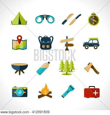 Camping Icons Set With Tent Binoculars Knife Compass Isolated Vector Illustration