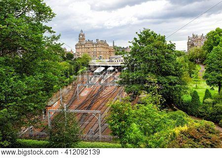 Train station at Edinburgh and green park