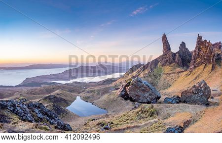 Beautiful And Unique Old Man Of Storr Rock In Isle Of Skye, Scotland. Early Spring Sunny Day. Panora
