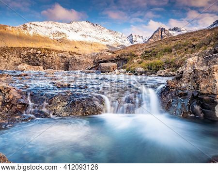 Visit Spring Fairy Pools On Isle Of Skye In Scotland. Breathtaking Crystal Clear Waterfalls Amongst
