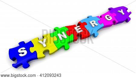 Synergy. Word On Puzzles. The Word Synergy Is Made Up Of Multi-colored Puzzles On White Surface. 3d
