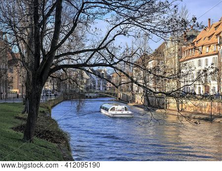 Strasbourg, France 01/02/2019: Boat Trip On The Water Canal In Strasbourg