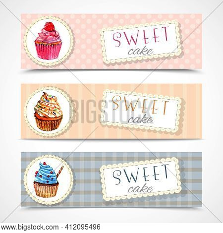 Decorative Sweetshop Confectionary Tags Labels Set With Traditional Cupcakes Design Horizontal Banne