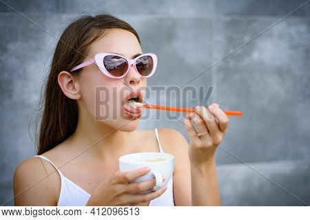Young Woman Enjoy Sipping Drink Through Straw. Pretty Woman Sip Beverage With Drinking Straw. Cute W