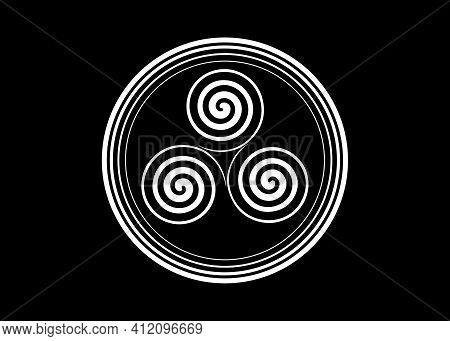 Triskelion Or Triskele Round Symbol. Triple Spiral Celtic Sign. Wiccan Fertility Symbol Logo Design.